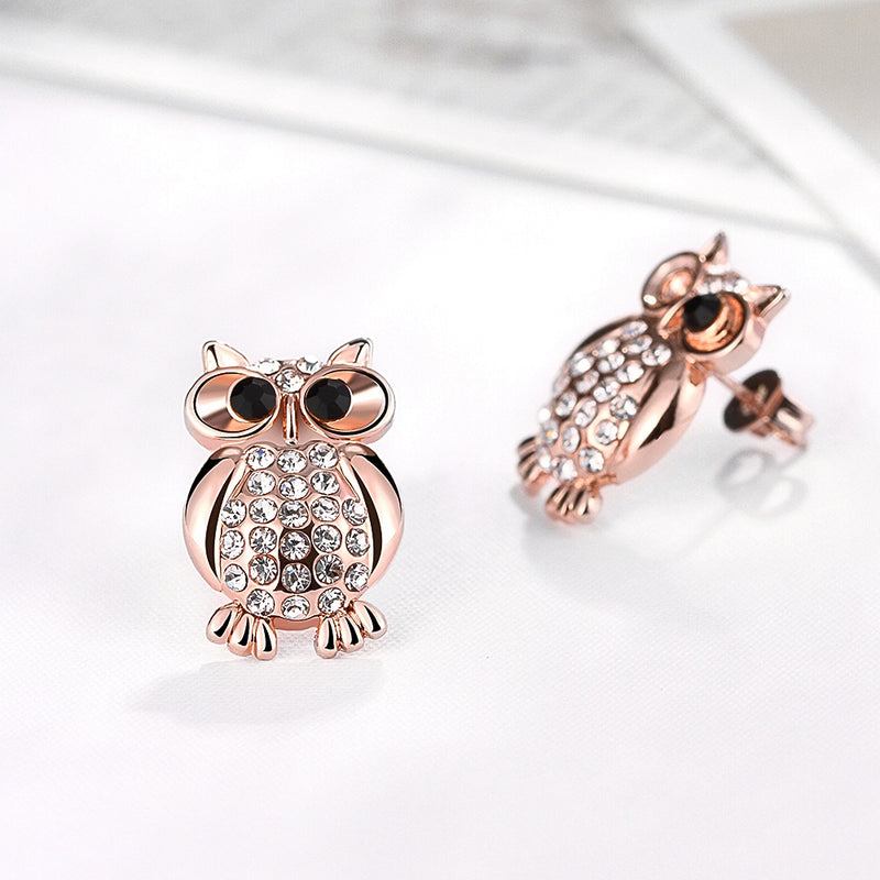 Swarovski Crystal Large Owl Stud Earring in 18K Rose Gold Plated