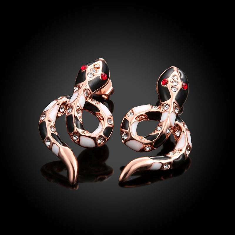 Swarovski Crystal Snake Stud Earring in 18K Rose Gold Plated