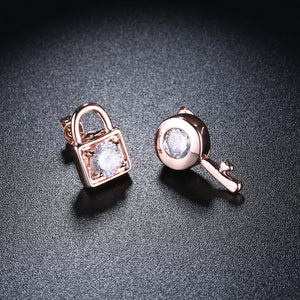 Swarovski Crystal Sapphire Stud Earring in 18K Rose Gold Plated