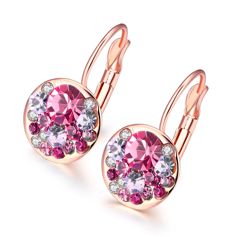 Swarovski Crystal Sapphire Leverback Earring in 18K Rose Gold Plated