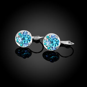 Austrian Crystal Sapphire Leverback Earring in 18K White Gold Plated