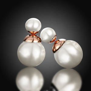 Double Pearl Earring Stud Earring in 18K Rose Gold Plated