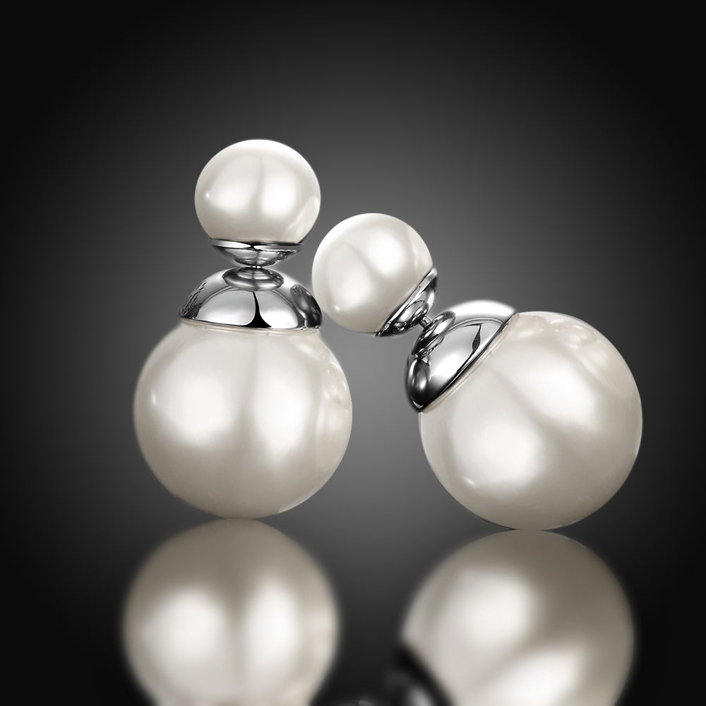 Double Pearl Earring Stud Earring in 18K White Gold Plated