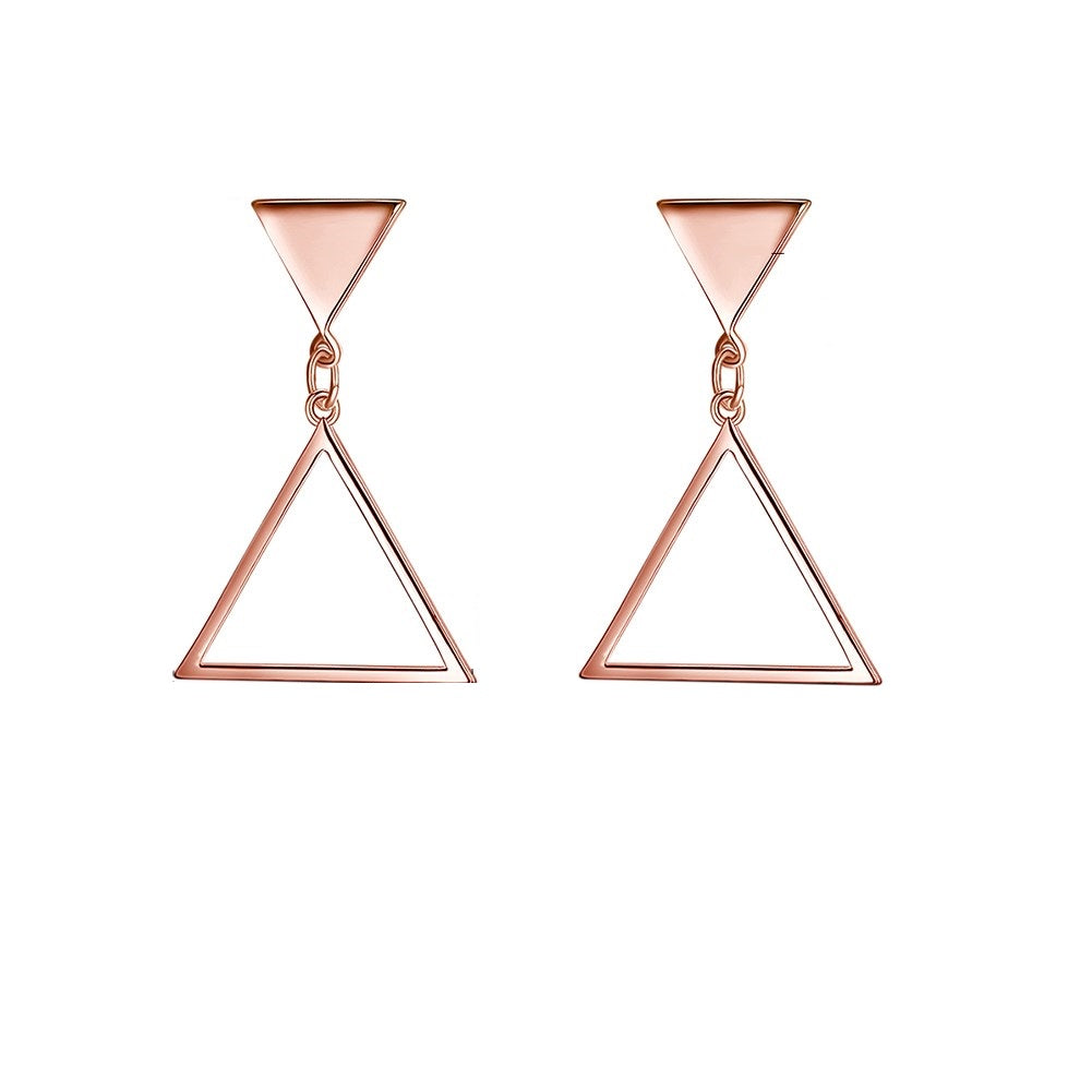 Triangle Drop Stud Earring in 18K Rose Gold Plated