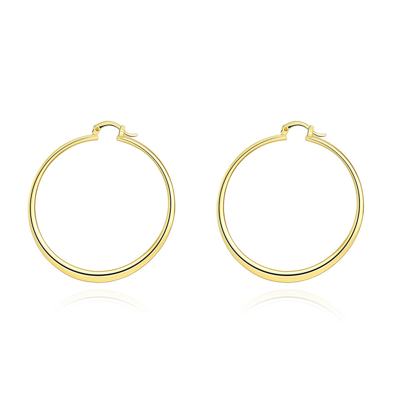 "2"" Flat Hoop Earrings in 18K Gold Plated, Hoop Earring, Golden NYC Jewelry, Golden NYC Jewelry  jewelryjewelry deals, swarovski crystal jewelry, groupon jewelry,, jewelry for mom,"