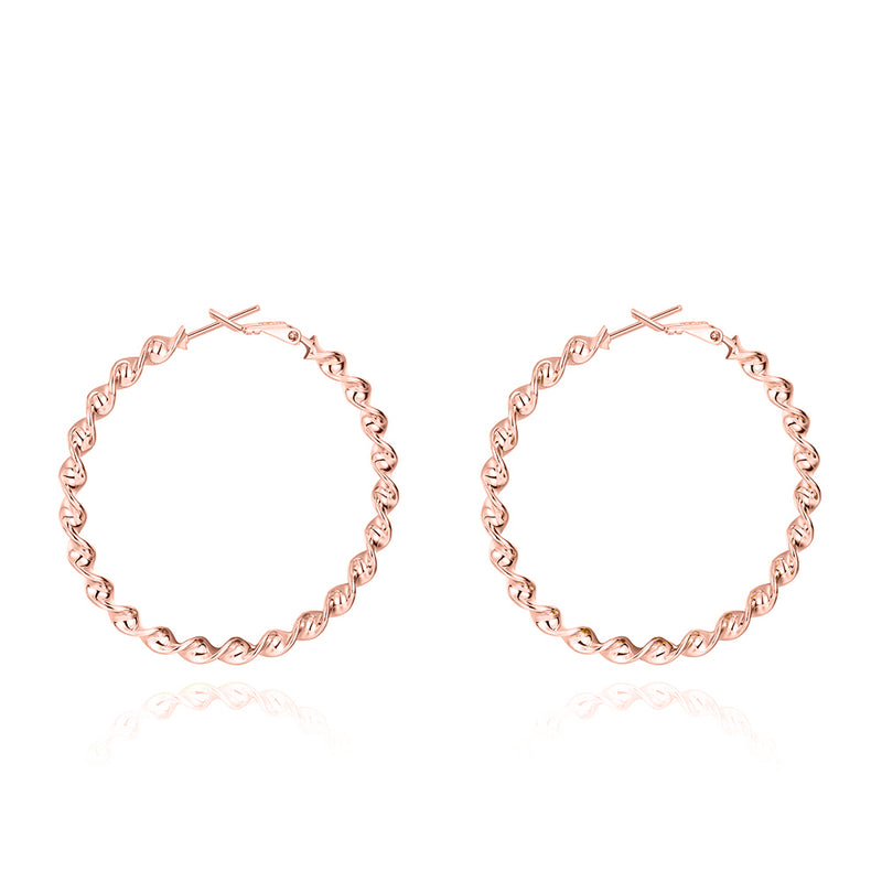 "2"" Twist Hoop Earrings in 18K Rose Gold Plated, Hoop Earring, Golden NYC Jewelry, Golden NYC Jewelry  jewelryjewelry deals, swarovski crystal jewelry, groupon jewelry,, jewelry for mom,"