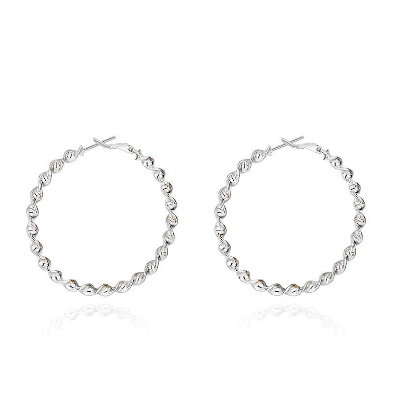 "2"" Twist Hoop Earrings in 18K White Gold Plated, Hoop Earring, Golden NYC Jewelry, Golden NYC Jewelry  jewelryjewelry deals, swarovski crystal jewelry, groupon jewelry,, jewelry for mom,"