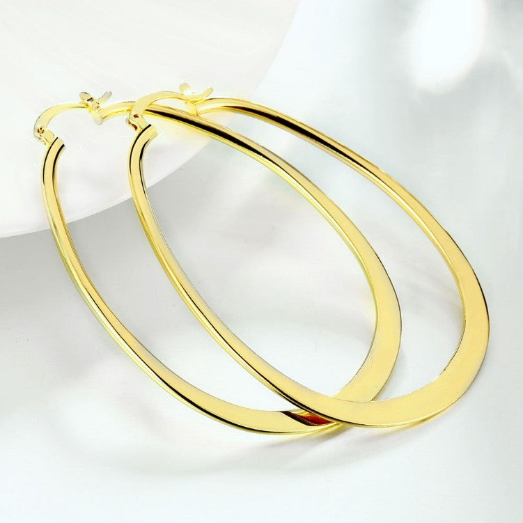 18K Gold Plated Large Flat Hoop Earring 68mm (available in 3 colors), Earring, Golden NYC Jewelry, Golden NYC Jewelry  jewelryjewelry deals, swarovski crystal jewelry, groupon jewelry,, jewelry for mom,