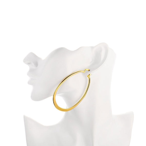 Golden NYC 18K Gold Plated Large Flat Oval Hoop Earring, Earring, Golden NYC Jewelry, Golden NYC Jewelry fashion jewelry, cheap jewelry, jewelry for mom,