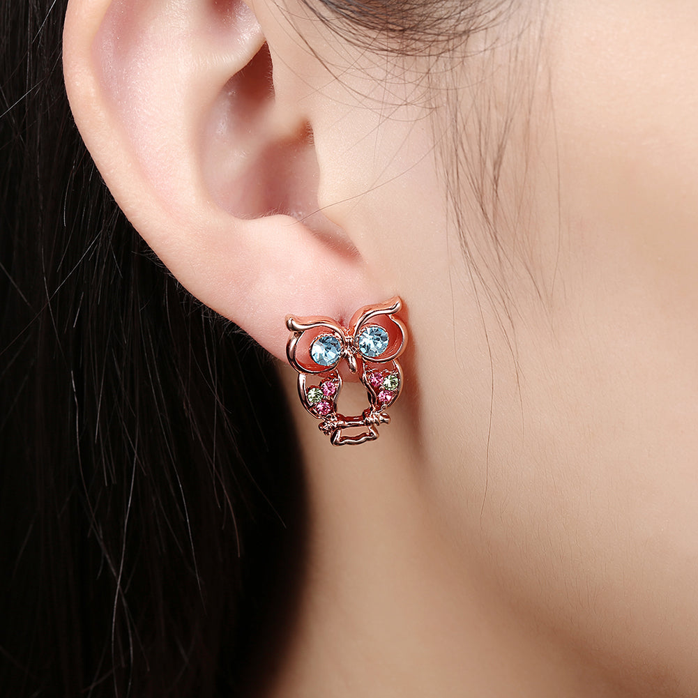 Swarovski Crystal Owl Stud Earring in 18K Rose Gold Plated