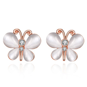 Swarovski Crystal Butterfly Stud Earring in 18K Rose Gold Plated