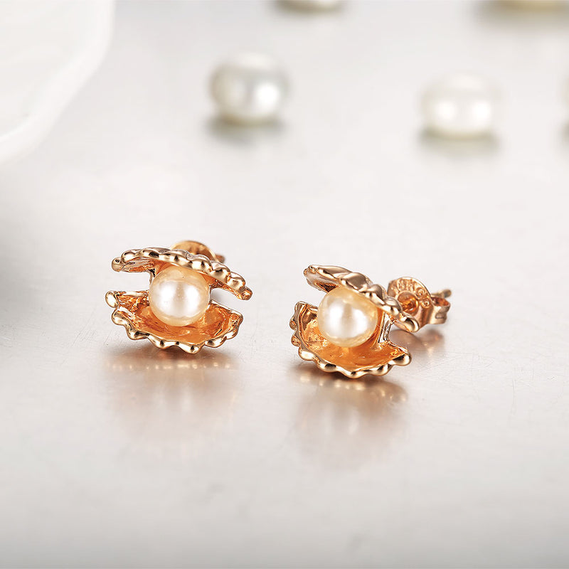 Clam Pearl Stud Earring in 18K Rose Gold Plated, Earring, Golden NYC Jewelry, Golden NYC Jewelry  jewelryjewelry deals, swarovski crystal jewelry, groupon jewelry,, jewelry for mom,