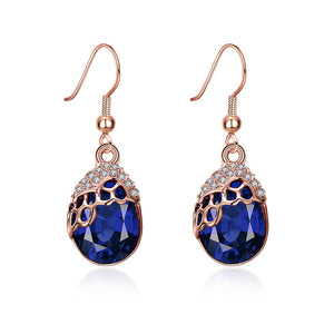 Austrian Crystal Sapphire Drop Earring in 18K Rose Gold Plated