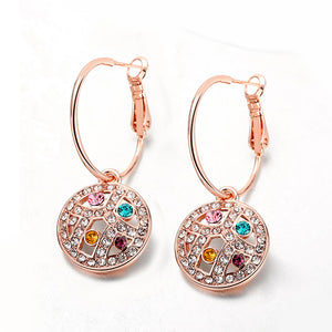 Swarovski Crystal Rainbow Leverback Earring in 18K Rose Gold Plated