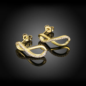 Infinity Pave Stud Earring in 18K Gold Plated