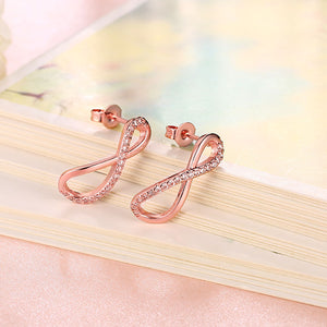 Infinity Pave Stud Earring in 18K Rose Gold Plated
