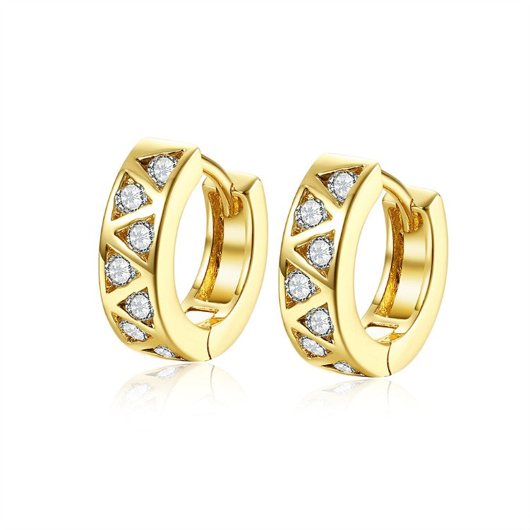 Golden NYC 18K Gold Plated Triangle Design Stones Earring, Earring, Golden NYC Jewelry, Golden NYC Jewelry  jewelryjewelry deals, swarovski crystal jewelry, groupon jewelry,, jewelry for mom,