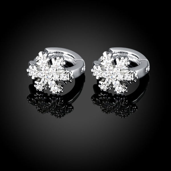 18K White Gold Plated Snow Flake Swarovski Huggie Earrings - Golden NYC Jewelry www.goldennycjewelry.com fashion jewelry for women