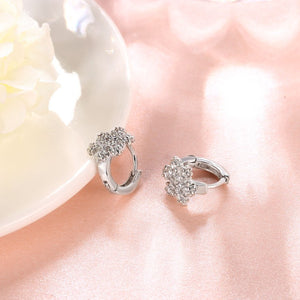 18K White Gold Plated Snow Flake Swarovski Huggie Earrings, Earring, Golden NYC Jewelry, Golden NYC Jewelry  jewelryjewelry deals, swarovski crystal jewelry, groupon jewelry,, jewelry for mom,
