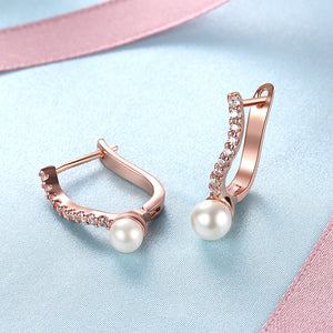 2.00 Ct Swarovski Crystal and Pearl Huggie Earring in 18K Rose Gold Plated, Earring, Golden NYC Jewelry, Golden NYC Jewelry  jewelryjewelry deals, swarovski crystal jewelry, groupon jewelry,, jewelry for mom,