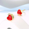 Red Heart Leverback Earring in 18K Gold Plated