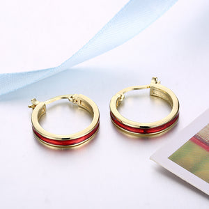 Red Lining Hoop Earring in 18K Gold Plated