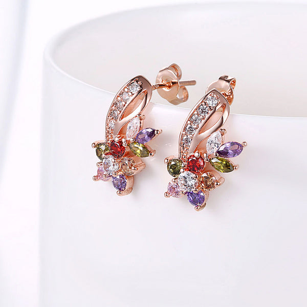 18K Rose Gold Plated Rainbow Earrings Made with Swarovski Elements - Golden NYC Jewelry www.goldennycjewelry.com fashion jewelry for women