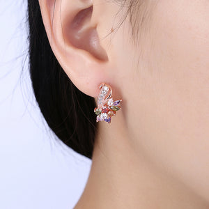 Rainbow Mona Lisa Stud Earring in 18K Rose Gold Plated