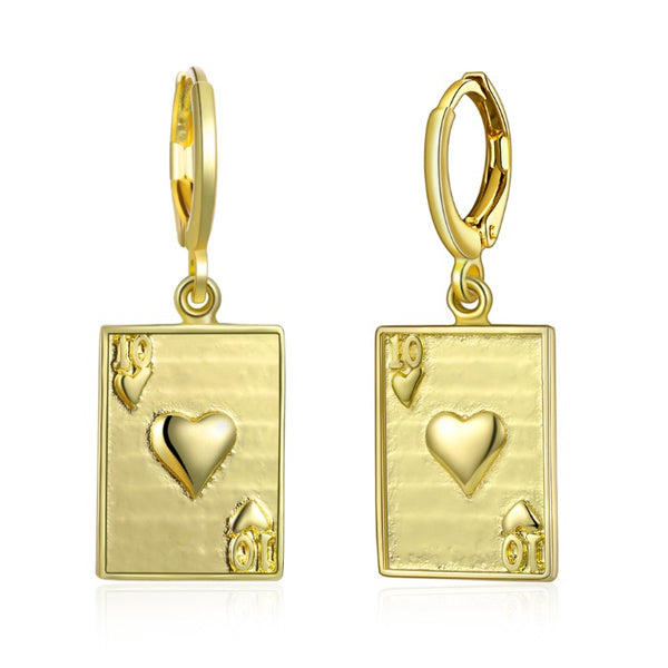 10 of Hearts Drop Earrings, Gold Collection, Earring, Gold, Golden NYC Jewelry, Golden NYC Jewelry fashion jewelry, cheap jewelry, jewelry for mom,