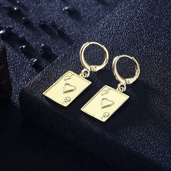 Jack of Hearts Drop Earrings, Gold Collection, Earring, Gold, Golden NYC Jewelry, Golden NYC Jewelry fashion jewelry, cheap jewelry, jewelry for mom,