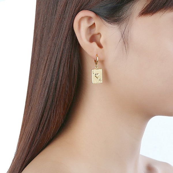 Queen of Hearts Drop Earrings, Gold Collection, Earring, Gold, Golden NYC Jewelry, Golden NYC Jewelry fashion jewelry, cheap jewelry, jewelry for mom,