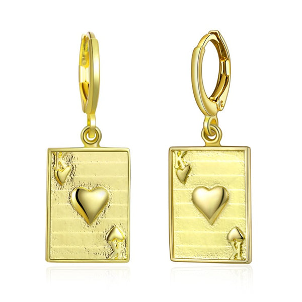 King of Hearts Drop Earrings, Gold Collection, Earring, Gold, Golden NYC Jewelry, Golden NYC Jewelry fashion jewelry, cheap jewelry, jewelry for mom,