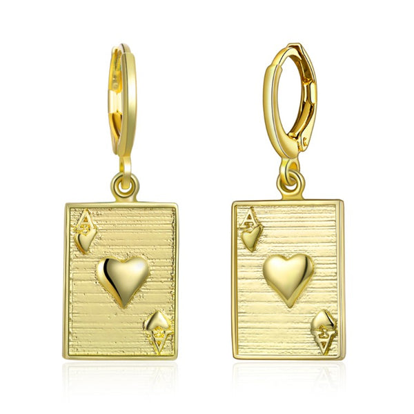 Ace of Hearts Drop Earrings, Gold Collection, Earring, Gold, Golden NYC Jewelry, Golden NYC Jewelry fashion jewelry, cheap jewelry, jewelry for mom,