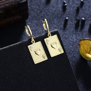Ace of Hearts Drop Earrings, Gold Collection, Earring, Gold, Golden NYC Jewelry, Golden NYC Jewelry  jewelryjewelry deals, swarovski crystal jewelry, groupon jewelry,, jewelry for mom,
