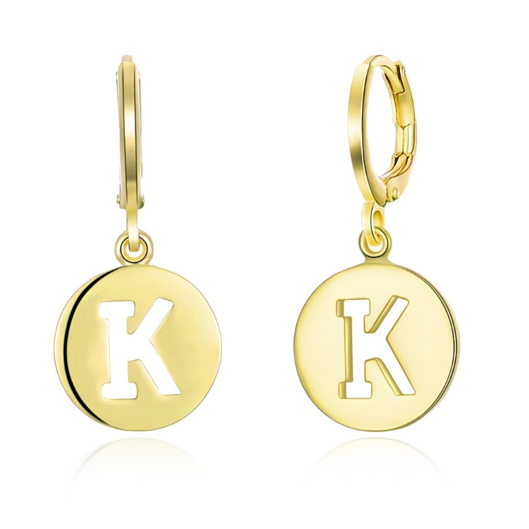 K for Kindness Drop Earrings, Gold Collection, Earring, Gold, Golden NYC Jewelry, Golden NYC Jewelry fashion jewelry, cheap jewelry, jewelry for mom,