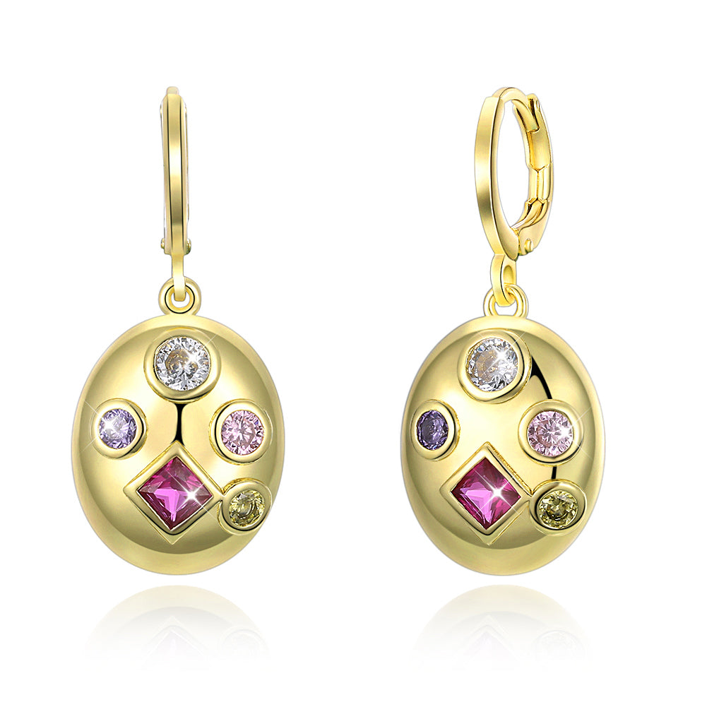 Simulated Diamond Celestial Drop Earrings in 18K Gold- Four Options