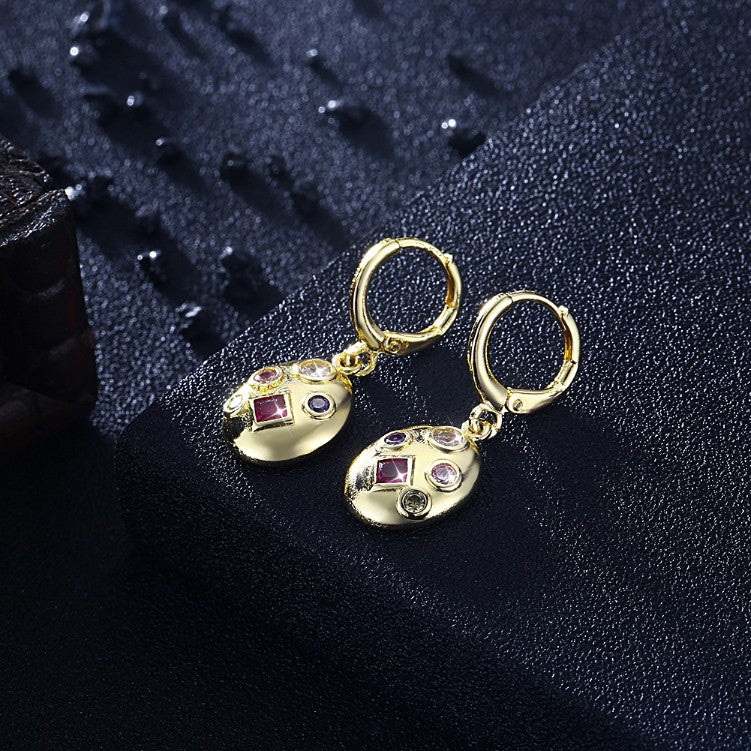 5 Stone Swarovski Drop Earrings, Gold Collection, Earring, Gold, Golden NYC Jewelry, Golden NYC Jewelry fashion jewelry, cheap jewelry, jewelry for mom,