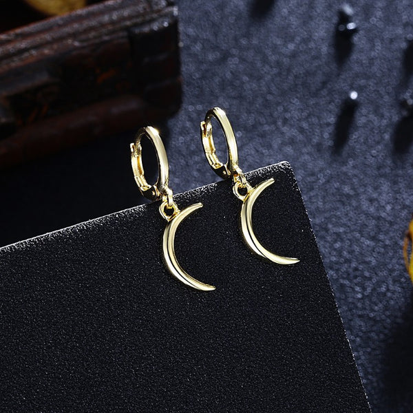 Golden Moon Drop Earrings, Gold Collection, Earring, Gold, Golden NYC Jewelry, Golden NYC Jewelry fashion jewelry, cheap jewelry, jewelry for mom,