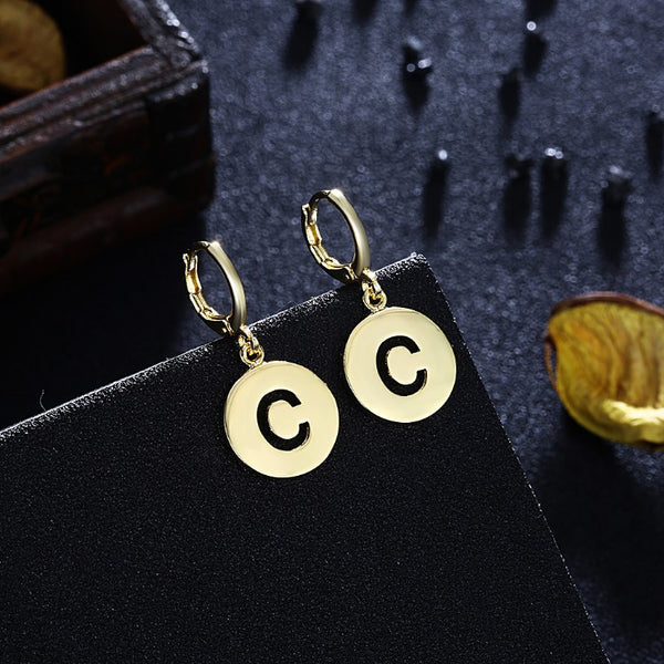C for Clarity Drop Earrings, Gold Collection, Earring, Gold, Golden NYC Jewelry, Golden NYC Jewelry fashion jewelry, cheap jewelry, jewelry for mom,