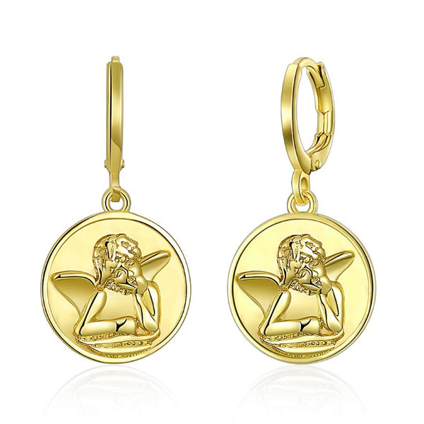 Baby Angel Drop Earrings, Gold Collection, Earring, Gold, Golden NYC Jewelry, Golden NYC Jewelry fashion jewelry, cheap jewelry, jewelry for mom,