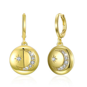 Moon and Star Drop Earring in 18K Gold Plated