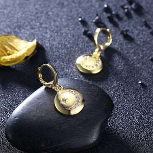 Swarovski Crystal Moon and Star Drop Earrings - Golden NYC Jewelry www.goldennycjewelry.com fashion jewelry for women