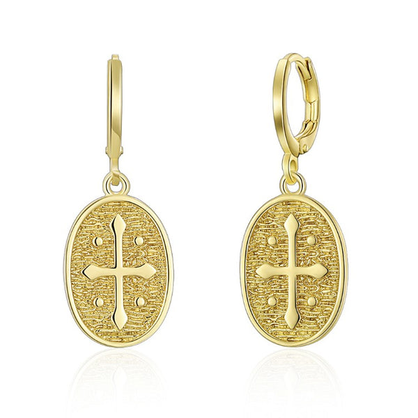 Cross Drop Earrings, Gold Collection, Earring, Gold, Golden NYC Jewelry, Golden NYC Jewelry fashion jewelry, cheap jewelry, jewelry for mom,