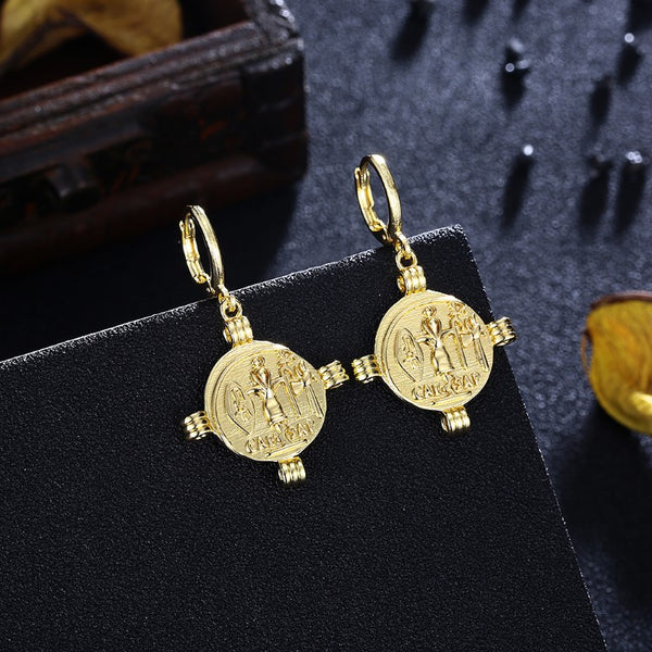 Cesar Cross Drop Earrings, Gold Collection, Earring, Gold, Golden NYC Jewelry, Golden NYC Jewelry fashion jewelry, cheap jewelry, jewelry for mom,