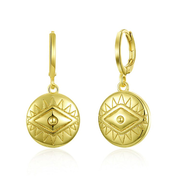 Evil Eye Protection Drop Earrings, Gold Collection, Earring, Gold, Golden NYC Jewelry, Golden NYC Jewelry fashion jewelry, cheap jewelry, jewelry for mom,