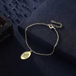 Greek Goddess Coin Bracelet in 18K Gold Plated, Gold Collection, Bracelet, Gold, Golden NYC Jewelry, Golden NYC Jewelry fashion jewelry, cheap jewelry, jewelry for mom,