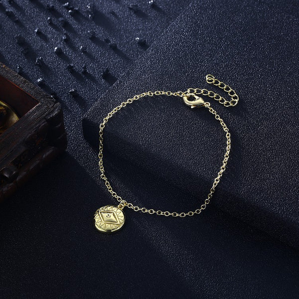 Evil Eye Coin Bracelet in 18K Gold Plated, Gold Collection, Bracelet, Gold, Golden NYC Jewelry, Golden NYC Jewelry fashion jewelry, cheap jewelry, jewelry for mom,