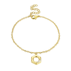 Hexagon Bracelet in 18K Gold Plated