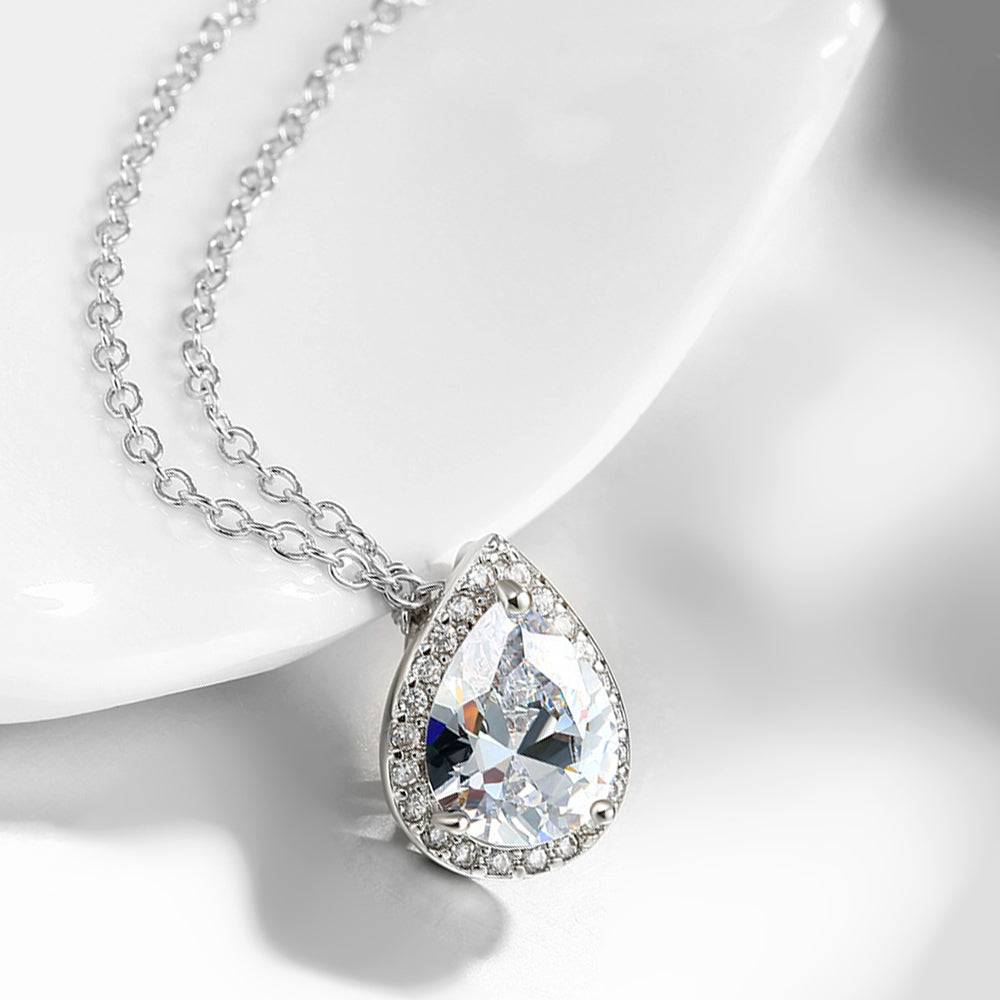 5.00 CT Teardrop Pave Necklace in 18K White Gold Plated, Necklace, Golden NYC Jewelry, Golden NYC Jewelry  jewelryjewelry deals, swarovski crystal jewelry, groupon jewelry,, jewelry for mom,