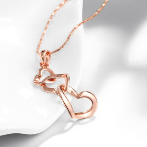 Triple Heart Necklace in 18K Rose Gold Plated